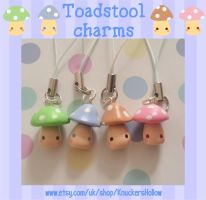 Toadstool phone charms by Knuckers-Hollow