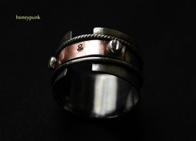 Ring SteamPunk silver sterling and copper by honeypunk