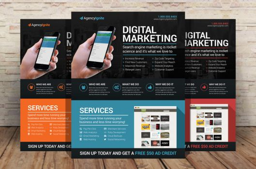 Digital Marketing Flyer PSD by xstortionist