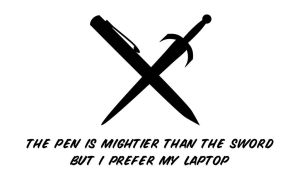 Pen vs Sword vs Laptop White by jrweinman