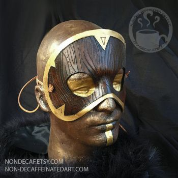 Woodgrain Armor Handmade Leather Costume Mask by nondecaf