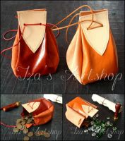 Red and Orange Medieval Leather Pouches by izasartshop
