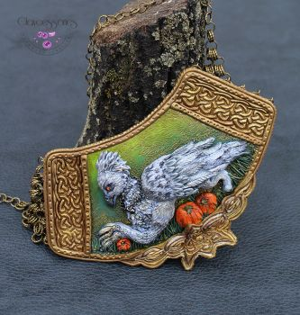 Hippogriff in the pumpkins field necklace by claycessories