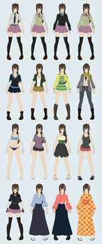 [AnE] Mayumi Outfit Collection by bossusaurus