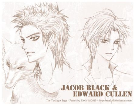 Twilight : Jacob and Edward by mrsloth