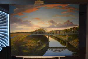 Landscape Painting with Bridge by CamCarl
