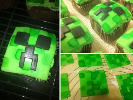 Creeper Cupcakes by star-rose-three