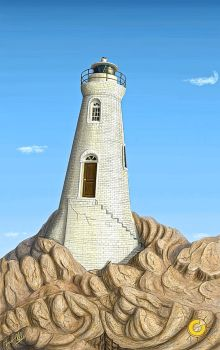 A Lighthouse in the Clear Light of Mid-day by LogicinWonderland
