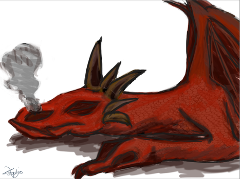 Cute red dragon snoozing by sofas123