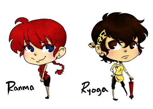 Female Ranma and Ryoga by rosey-so-silly