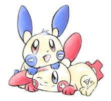 Plusle and Minun by ickle-weirdo