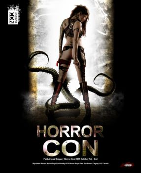 Calgary Horror Con Poster 1a by jagged-eye