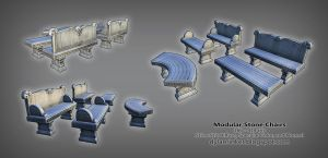 Stone Bench - Modular Low Poly Prop by Stoop--Kid