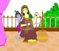 Little Krishna with Mother Yashoda by Madhuchhanda