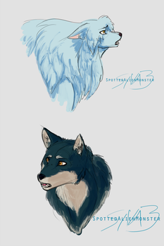 Doodles - More Inuyasha dog and Wolf by SpottedAlienMonster