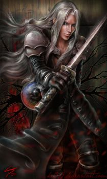 Sephiroth with Black Materia by hel999