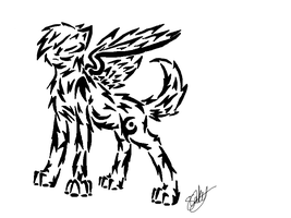 Tribal Winged Wolf 1 by MidnightShadow88