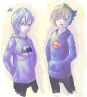 Comic book dorks in sweaters by Thayora