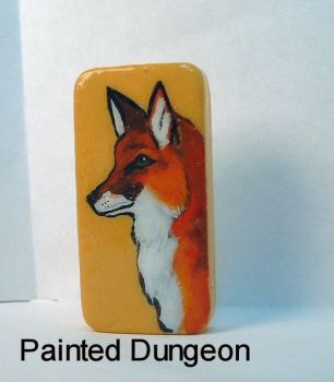 Red Fox Painted Dominoe / Domino Recycled Jewelry by whuffie