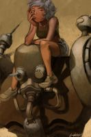 robot and girl by cuson