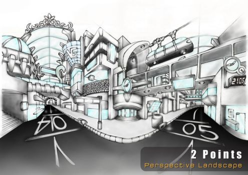 2 Point  perspective Landscape by VictorGah