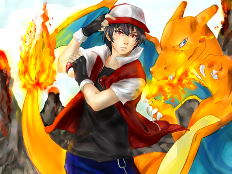 Red  and Charizard by Misao02