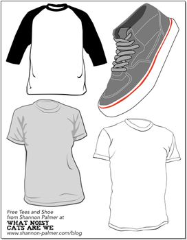 t-shirt and sneaker vectors by skipgo