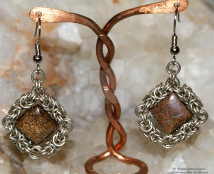 Bronzite Byzantine Earrings by frawgzdezignz