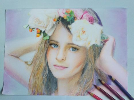 girl with flower wreath by Bansche