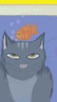 Cat and fish by bluenorthhope