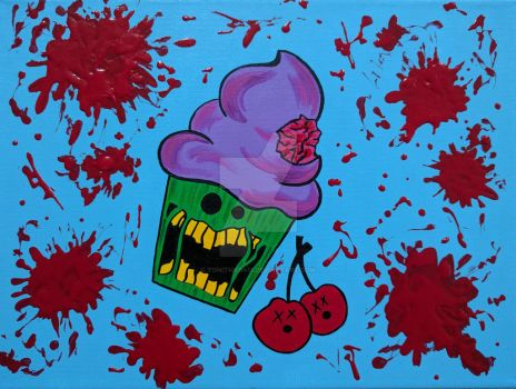 Bloody Zombie Cupcake Painting by ToniTiger415