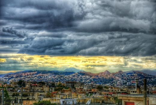 HDR Cloudy Day in  Athens by AmmarkoV1