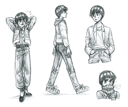 Rock Lee Sketches by theanimemaster2