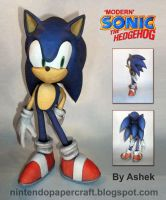 Modern Sonic Papercraft by Ashek86