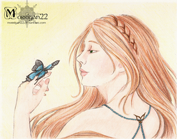 ACEO 03 - Eliana and the blue Butterfly - by Morrigan22