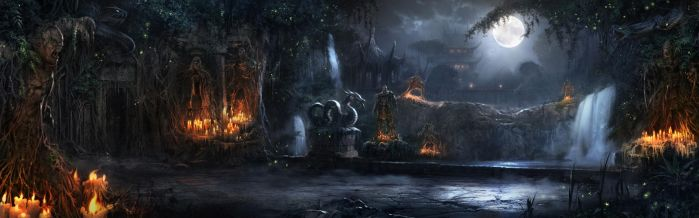 Shang Tsung's Garden - Night by atomhawk