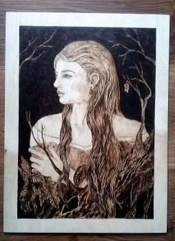 portrait ( pyrography /woodburning) by Art-Caren
