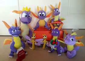Updated Spyro the dragon plush toy collection by frozendragonflames