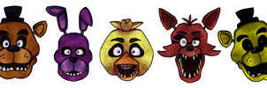 Commission - FNAF Heads by TheMarquisOfDorks