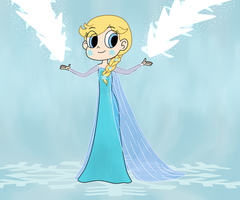 Star Butterfly as Elsa by Deaf-Machbot