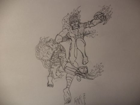Sabretooth vs Predator pencils by FoNKprimeomega13