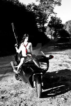 Gun, Bike n' Girl BnW by Fred-Image