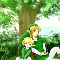 Toon Link and Link by Alamino
